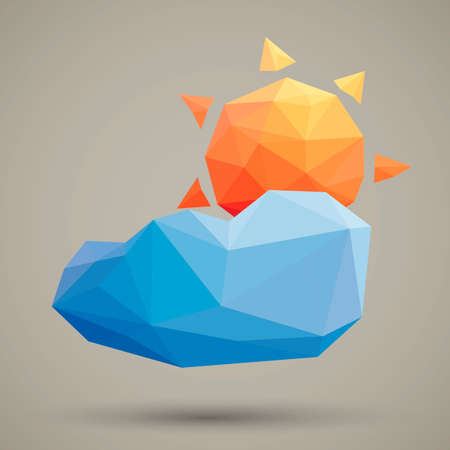 faceted: Faceted sun and cloud