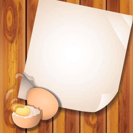 uovo rotto: Broken egg on wooden table Vettoriali