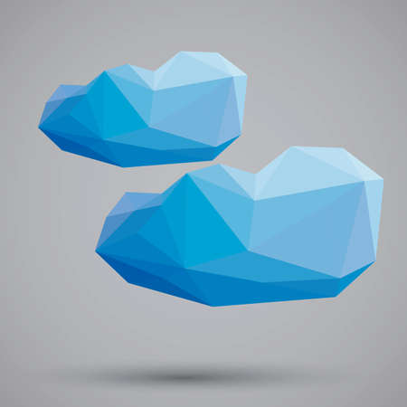 faceted: Faceted clouds Illustration