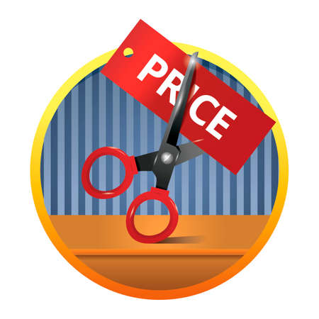price cutting: Scissors cutting price tag