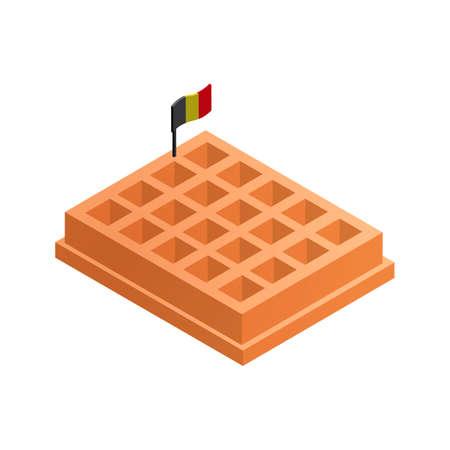 belgian: Belgian waffle with flag Illustration