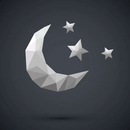 Faceted crescent moon and stars