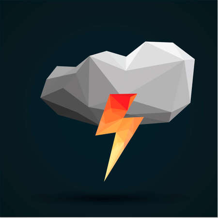 faceted: Faceted cloud and thunder Illustration