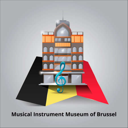 famous place: Musical instrument Museum of Brussel Illustration