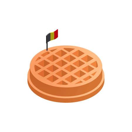 belgian waffle: Belgian waffle with flag Illustration