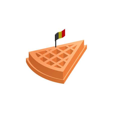 waffle: Belgian waffle with flag Illustration