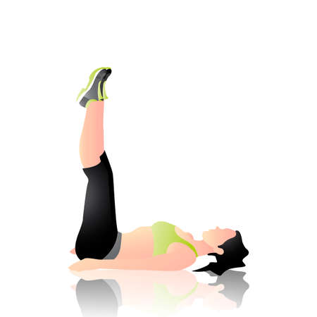 leg: Woman doing leg lifts Illustration