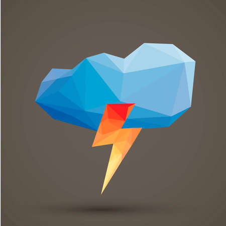 Faceted cloud and thunder Illustration