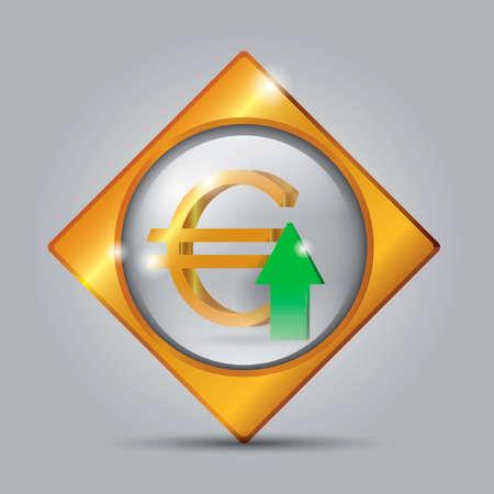 up arrow: Euro with up arrow button
