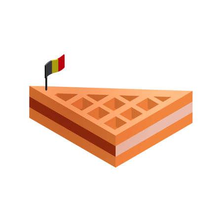 와플: Belgian waffle with flag 일러스트