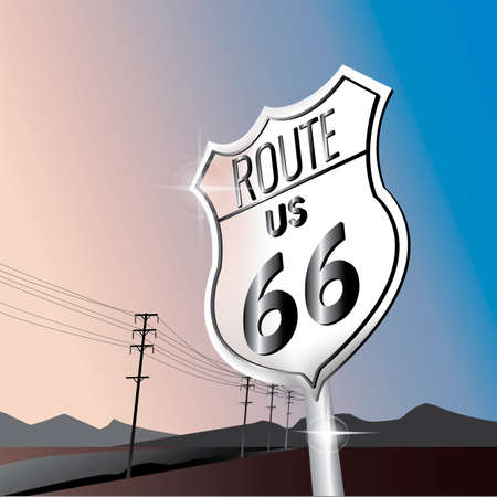 66: 66 us route sign board Illustration