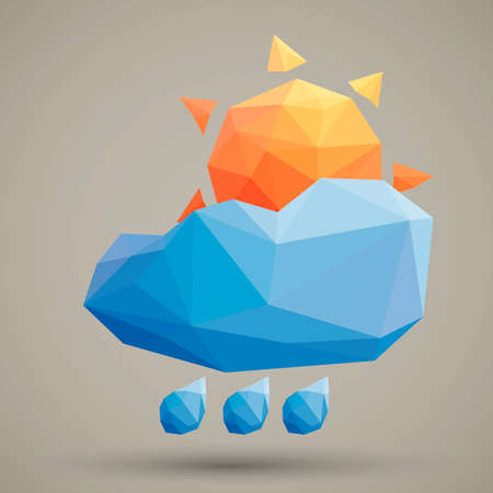 faceted: Faceted sun cloud and rain Illustration