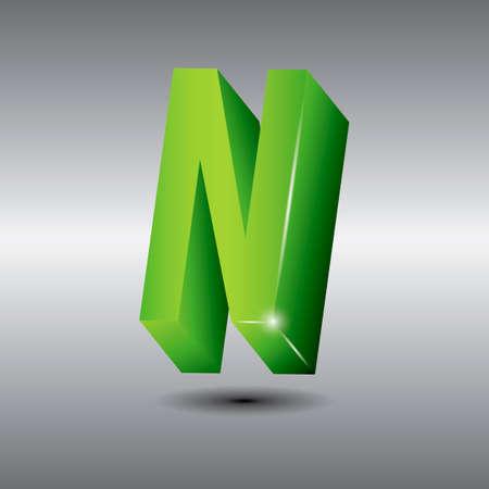 3 dimensional: Letter n Illustration