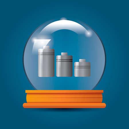 batteries: Batteries in crystal ball Illustration