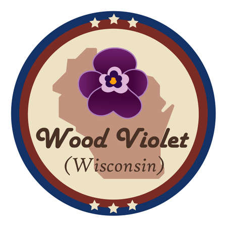 wisconsin state: Wisconsin state with wood violet flower Illustration