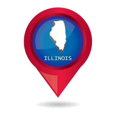 map pointer: Map pointer with illinois state Illustration