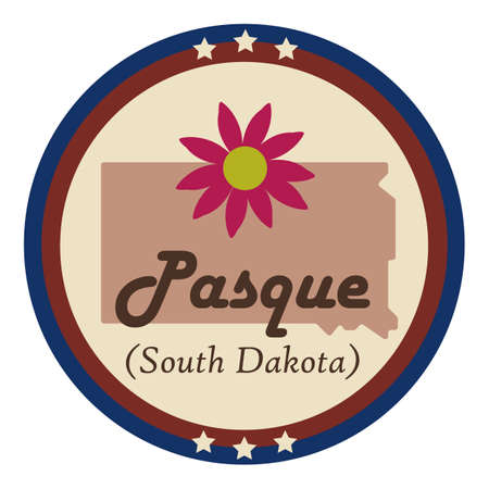 pasque: South dakota state with pasque flower Illustration