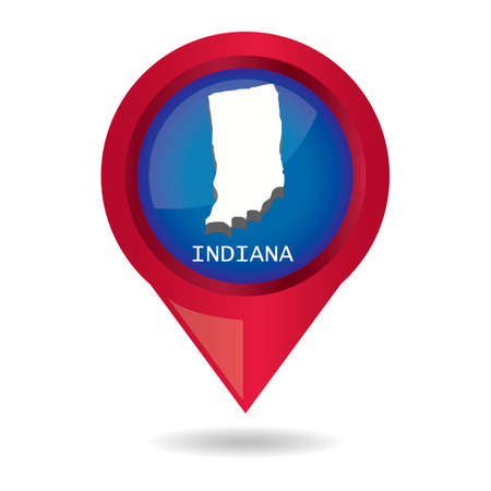 indiana: Map pointer with indiana state