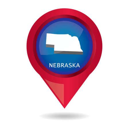 nebraska: Map pointer with nebraska state
