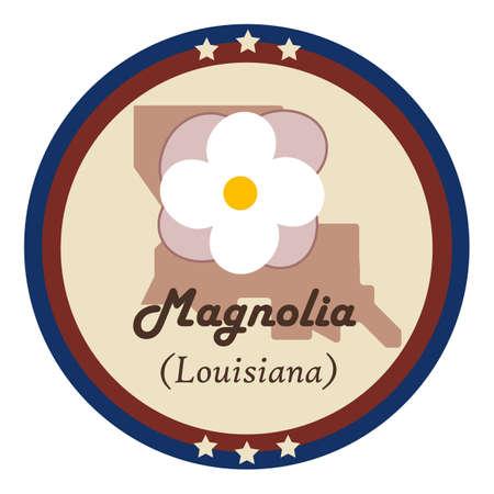 magnolia: Louisiania state with magnolia flower Illustration