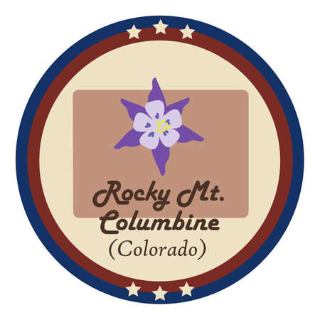 rocky: Colorado state with rocky mt.columbine flower Stock Illustratie