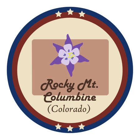 colorado: Colorado state with rocky mt.columbine flower Illustration