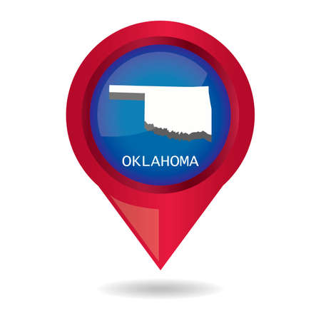 oklahoma: Map pointer with oklahoma state