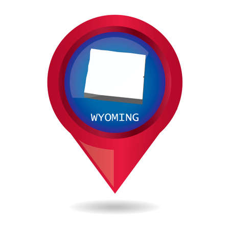 wyoming: Map pointer with wyoming state Illustration