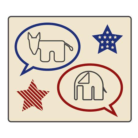 Democratic and republican party label Illustration