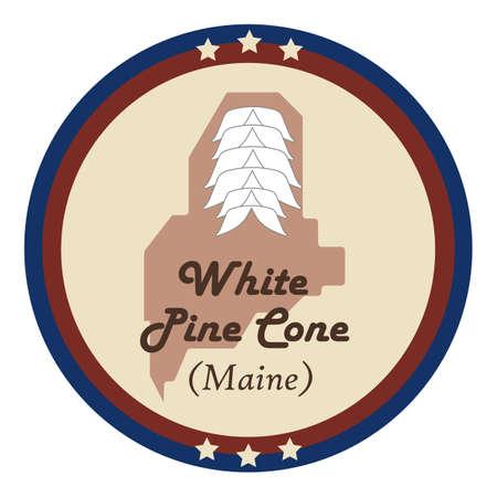 pomme de pin: Etat du Maine avec le pin blanc c�ne fleur Illustration