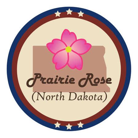 prairie: North dakota state with prairie rose flower