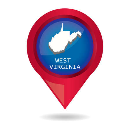 virginia: Map pointer with west virginia state
