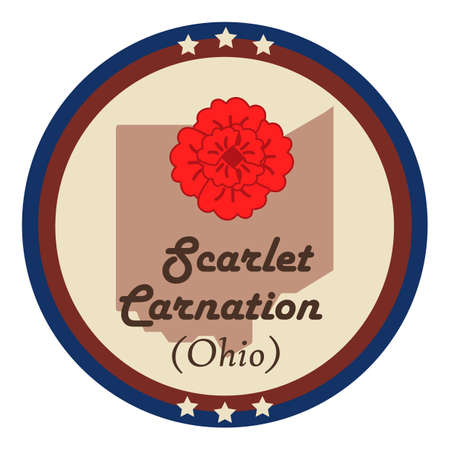 scarlet: Ohio state with scarlet carnation flower Illustration