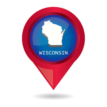 wisconsin: Map pointer with wisconsin state Illustration