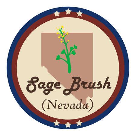 nevada: Nevada state with sage brush flower
