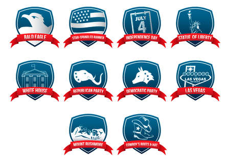 republican party: Collection of USA labels Illustration