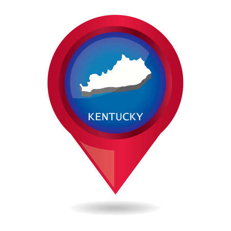kentucky: Map pointer with kentucky state Illustration