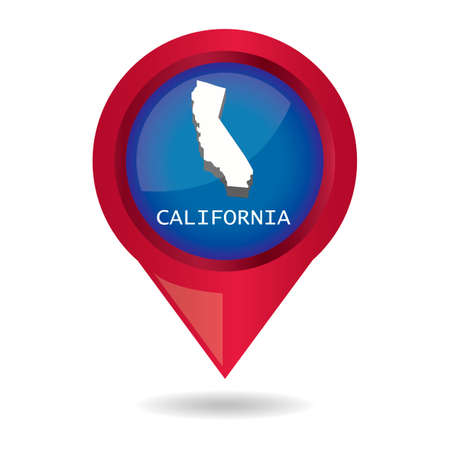 map pointer: Map pointer with california state
