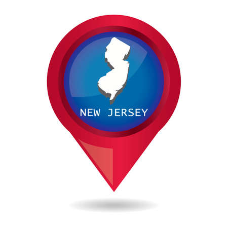 map pointer: Map pointer with new jersey state Illustration