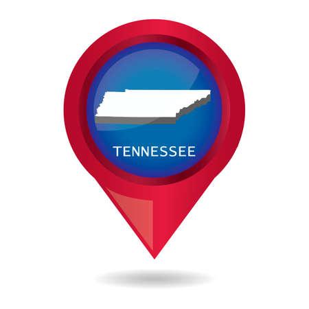tennesse: puntero del mapa con el estado de Tennessee Vectores