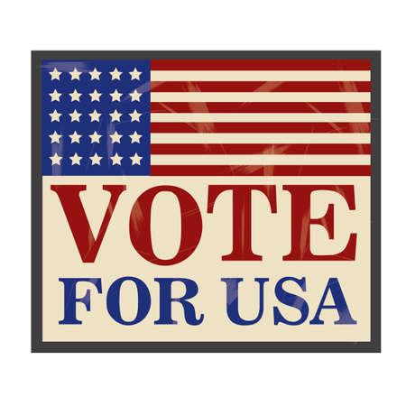vote label: Vote for usa label Illustration