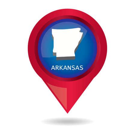 arkansas: Map pointer with arkansas state