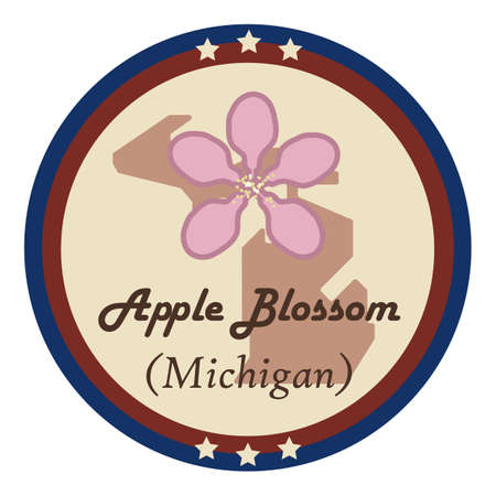 apple blossom: Michigan state with apple blossom flower