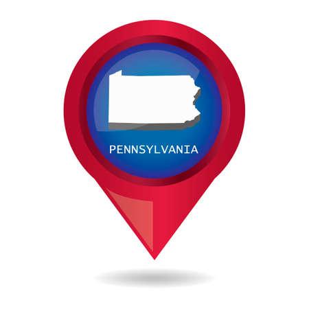 pennsylvania: Map pointer with pennsylvania state Illustration
