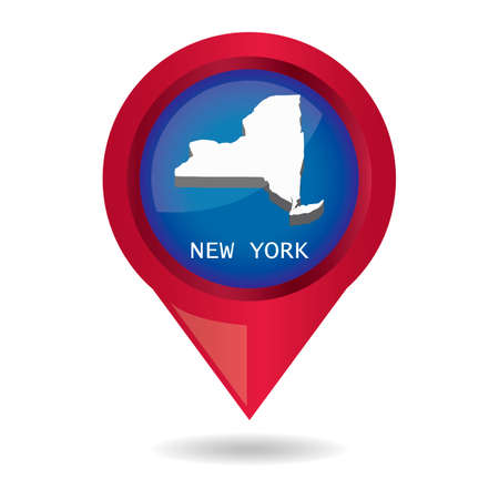 map pointer: Map pointer with new york state