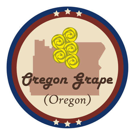 state of oregon: Oregon state with oregon grape flower