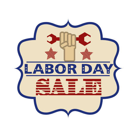 labor strong: Labor day sale label Illustration