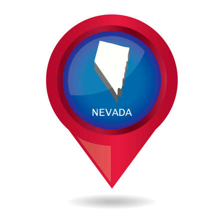 nevada: Map pointer with nevada state Illustration