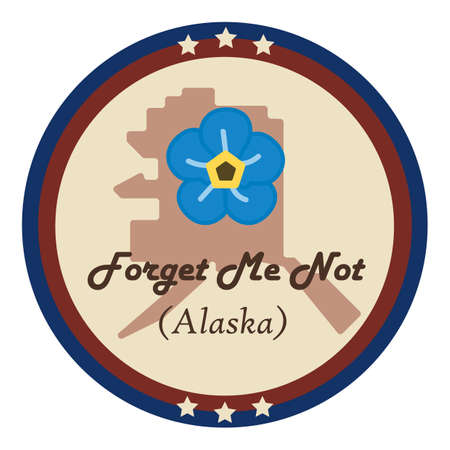 forget me not: Alaska state with forget me not flower