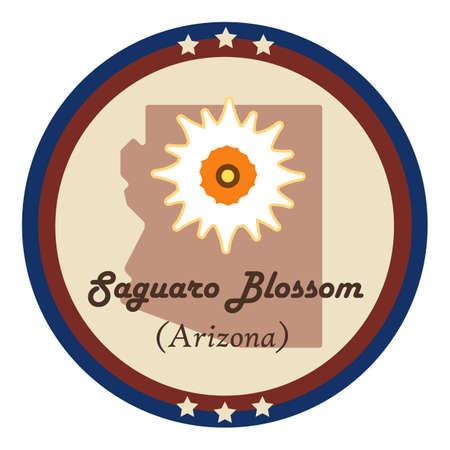 saguaro: Arizona state with saguaro blossom flower